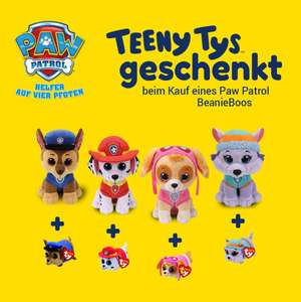 Paw Patrol Teeny Ty geschenkt beim Kauf eines Paw Patrol BeanieBoos