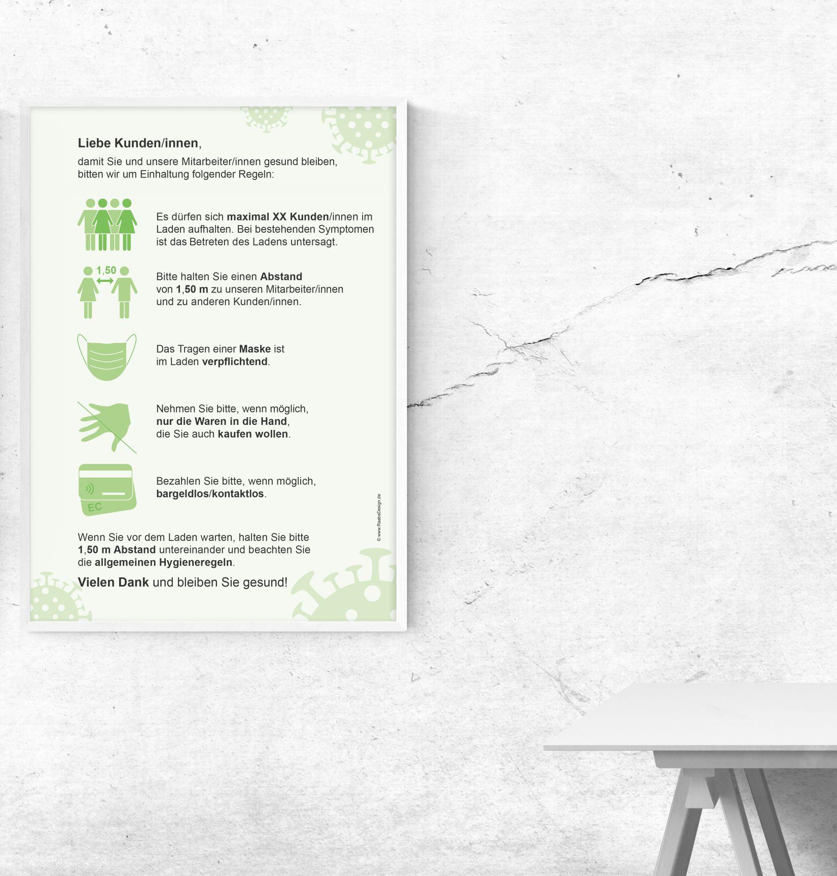Kostenlose Corona Poster-Datei (Textil-) Einzelhandel, Büro oder Gastronomie (Hygieneregeln/-Konzept)