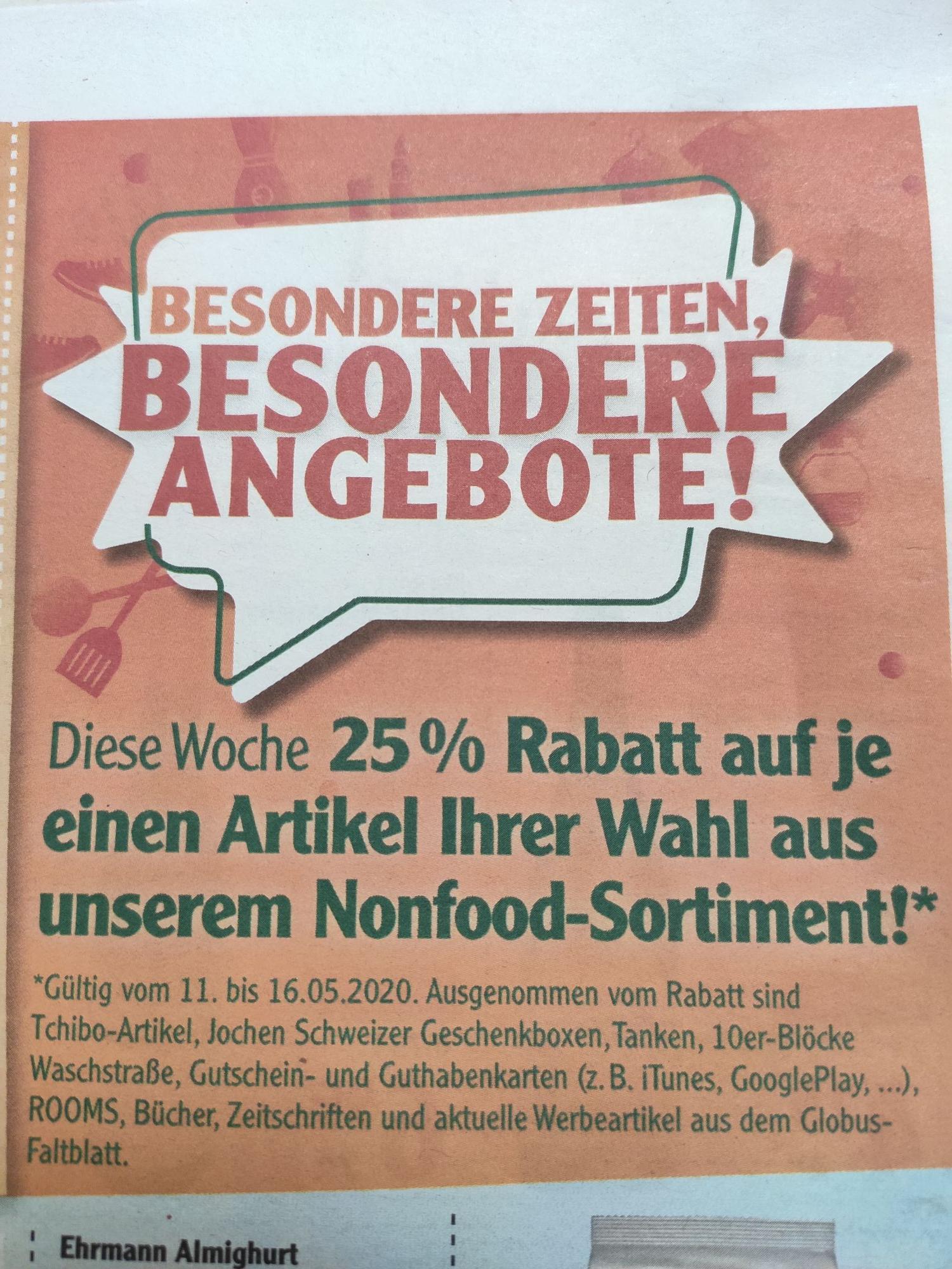 [Globus/Lokal] -25% auf einen Nonfood-Artikel in Grünstadt & Ludwigshafen