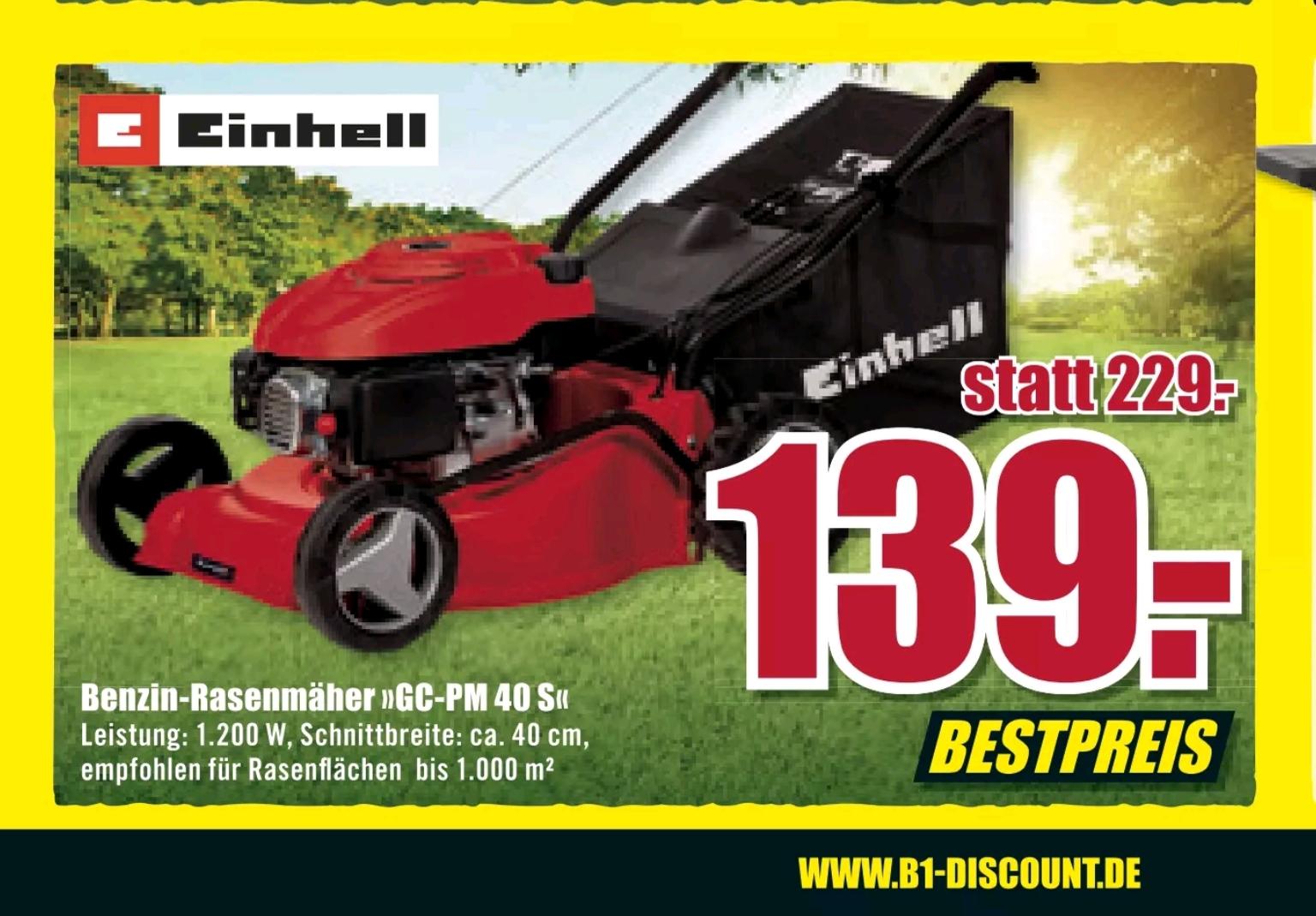 (Lokal B1 Discount Baumarkt) Benzin-Rasenmäher Einhell GC-PM 40 S