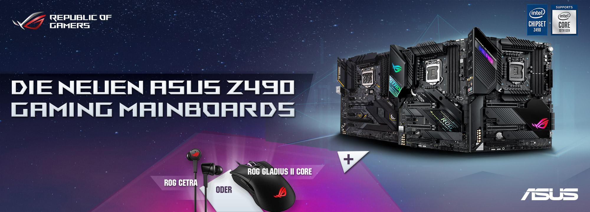 ASUS Bundle Promotion für Z490 Mainboards (Intel Core 10. Generation) - In-Ear-Kopfhörer oder Gaming Maus gratis