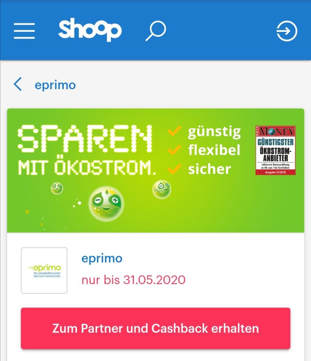 50€ Casback über Shoop für Eprimo Strom oder Gas Vertrag