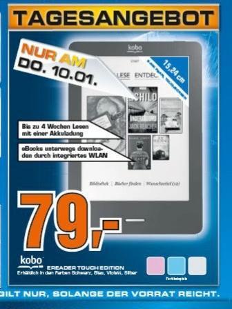 Kobo eReader Touch bei Saturn (Tagesangebot nur am 10.01.) für € 79,-