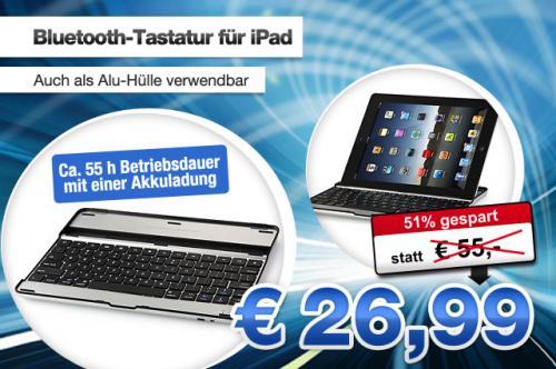 Bluetooth 3.0 Tastatur -Ladestation, Alu-Hülle- für iPad2 & iPad3 für 26,99€