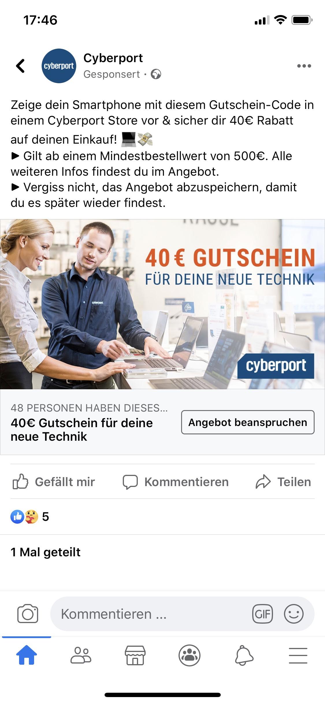 Gutschein für Cyberport-Stores 40€ Rabatt bei 500€ Mbw (entspricht 8%)
