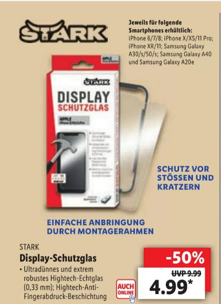 LIDL LOKAL! Stark Display Schutzglas, 2D, für iPhone und Samsung, mit Montagerahmen