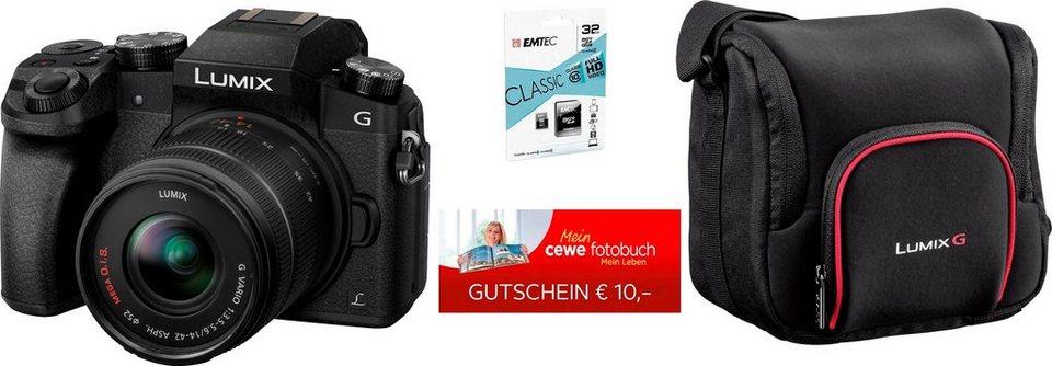 Systemkamera Panasonic DMC-G70 mit 14-42mm Kitobjektiv + 32GB Speicherkarte + Kameratasche + 10€ CEWE Fotogutschein Otto Neukundengutschein