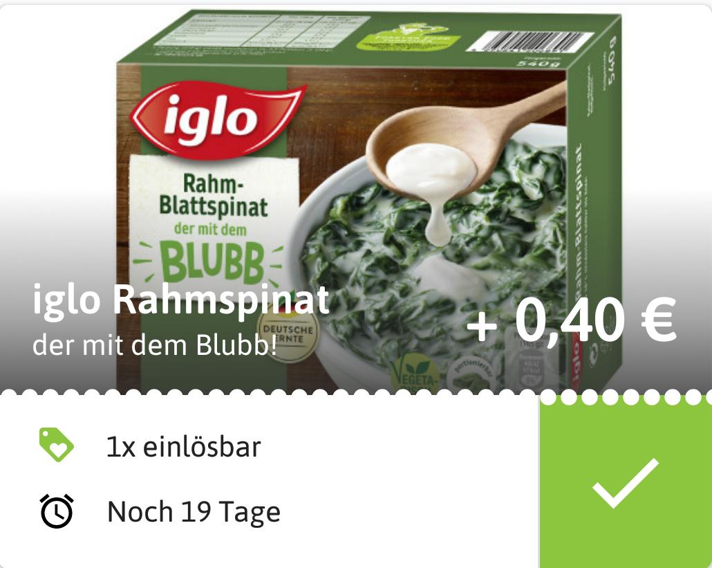 (Reebate) 0,40€ Cashback auf Iglo Rahmspinat