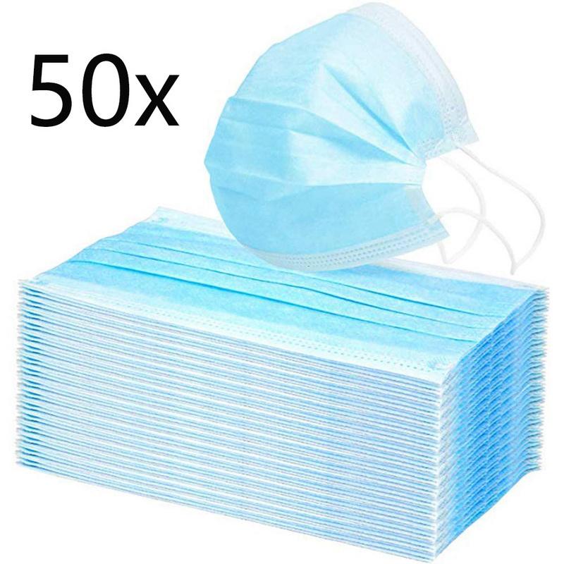 50er Pack dreilagige Schutzmasken (0,49€/Stück, 1-3 Tage Lieferzeit)