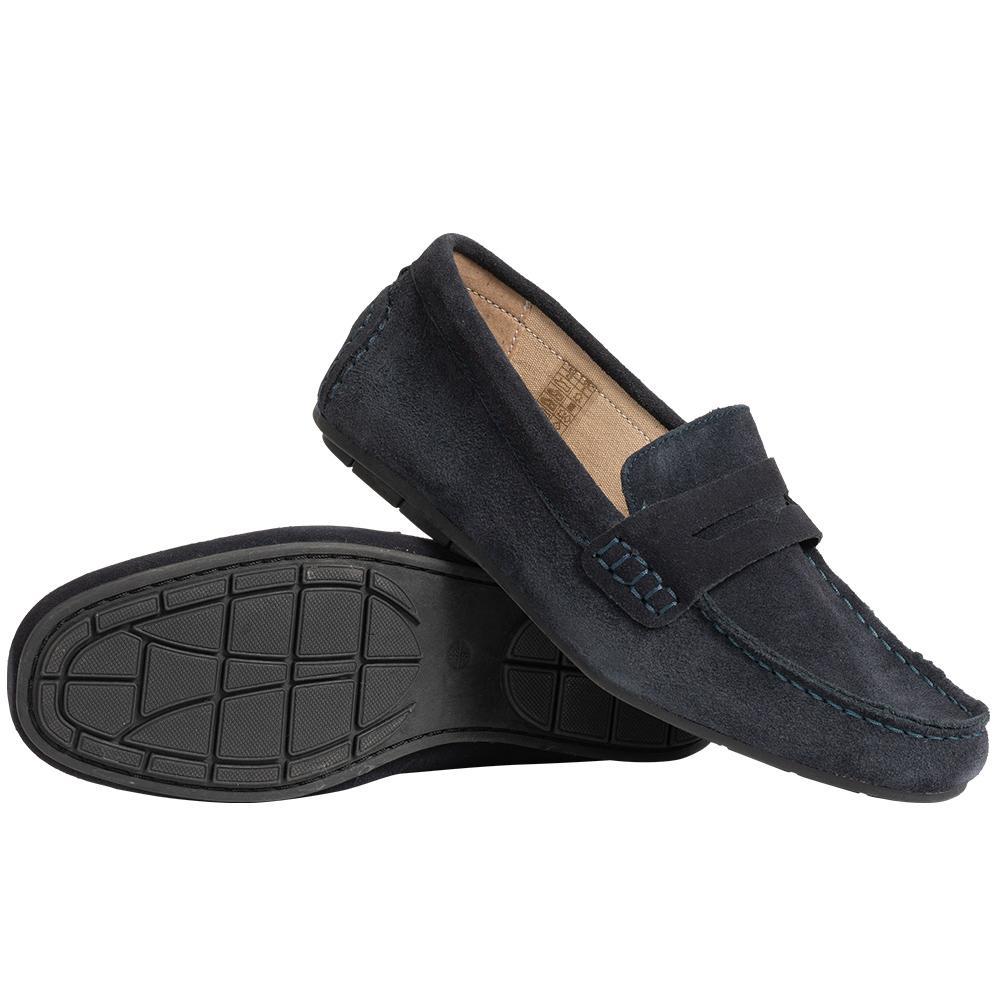 LIVERGY Mokassins Echtleder Herren Slipper Schuhe in marine oder grau (Gr. 41 - 46) für 11,72€
