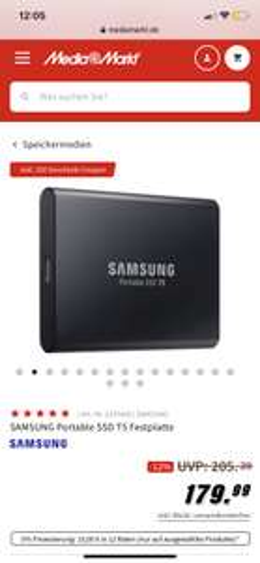 SAMSUNG Portable SSD T5 Festplatte + 25€ Coupon Mediamarkt