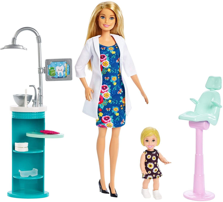 Barbie Puppe und Spielset versch. Modelle, z.B. Berufe Zahnärztin Spielset, inkl. Puppe und Babypuppe, realab 18.05.20