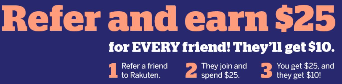 rakuten.com:10$ Cashback bei Bestellung ab 25$ - KwK = 25$ Bonus