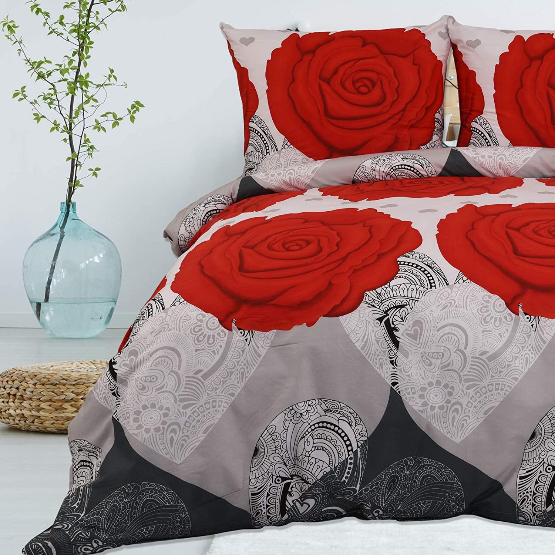 Bettwäsche Deluxe 2 Teilig aus 100% Baumwolle Renforce Reißverschluss 135x200 cm Rosenmuster