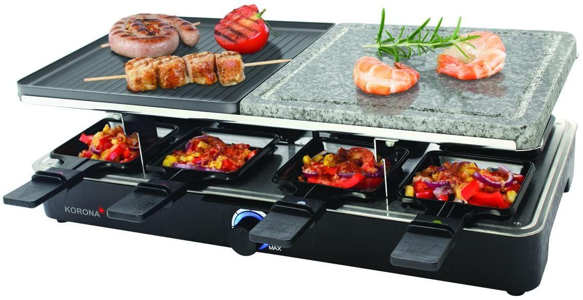 Korona 45051 Raclette Grill für 8 Personen – Tischgrill mit 8 Pfännchen und 8 Spatel [Amazon Prime]