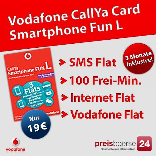 3 Monate kostenlos zu Vodafone telefonieren, SMS Flat, Internet Flat und 100 Freiminuten mtl. mit CallYa Fun L