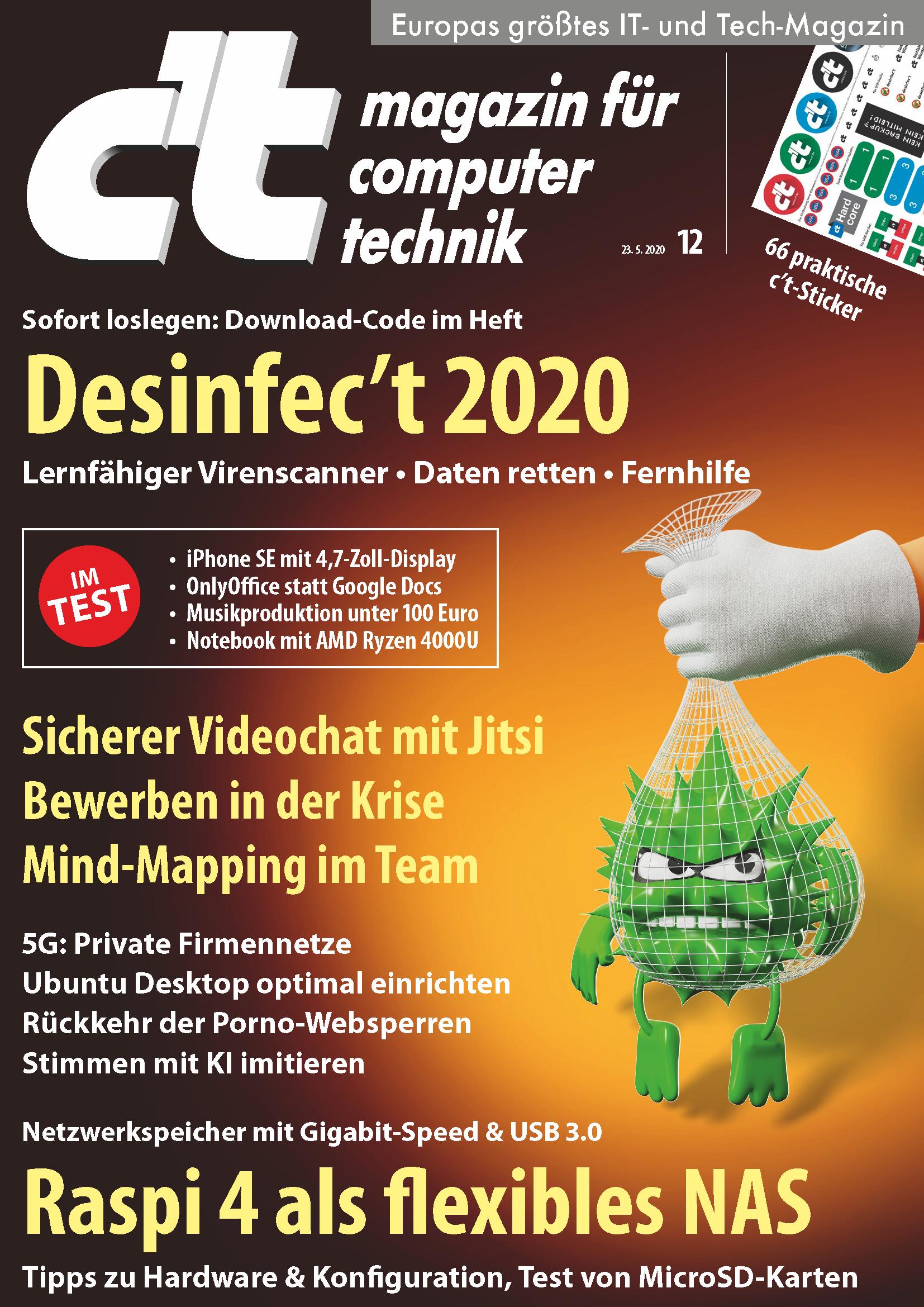 [Heise] c't (6 Ausgaben inkl. c't 12/20 mit Desinfect Software) für 20,70€ mit 15,00€ Amazon-Gutschein + c't Sonderheft Smart Home