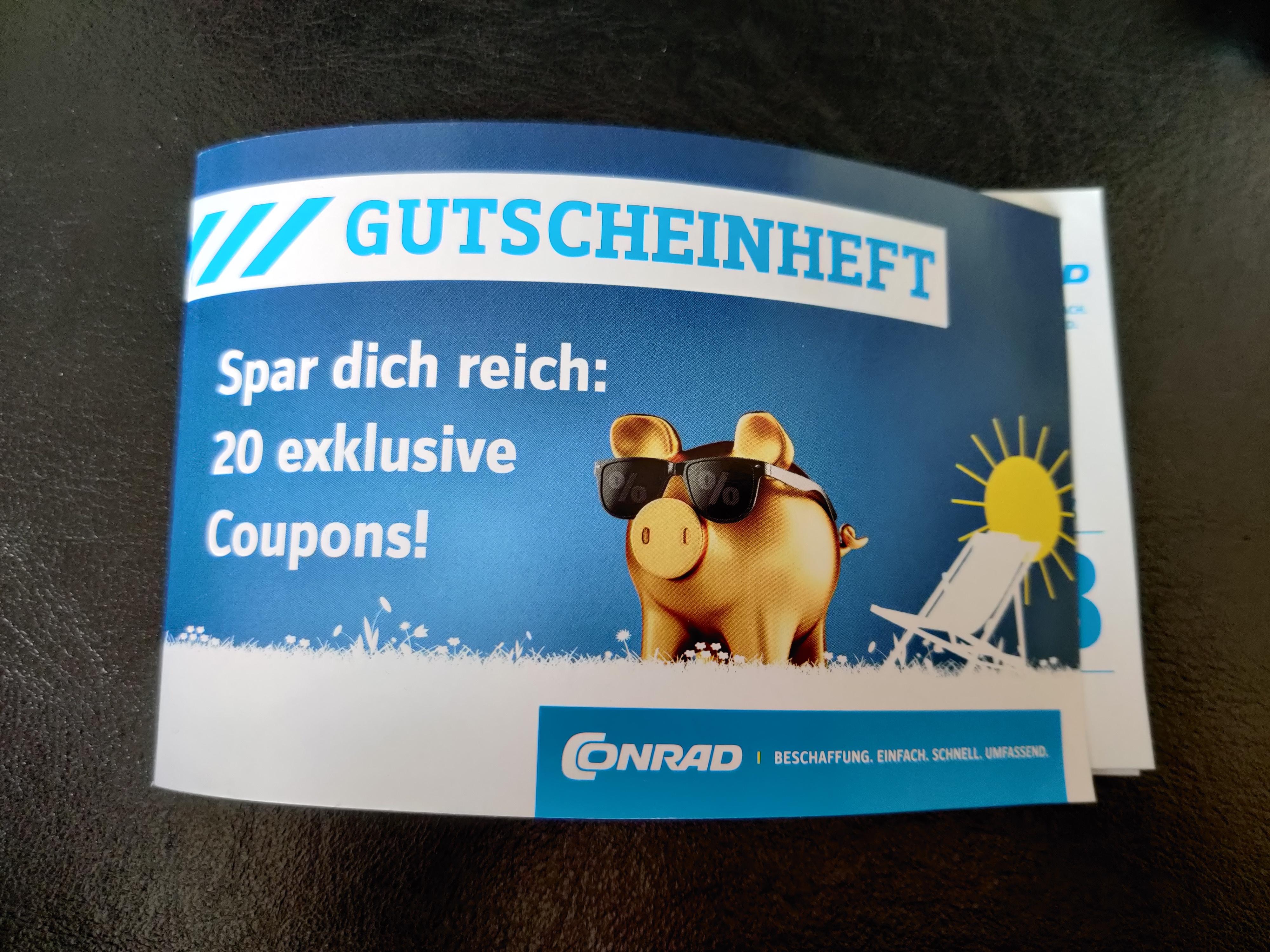 Conrad Gutscheinheft mit 20 Coupons z.B. 50€ Guthaben für 40€ am 10.06.20