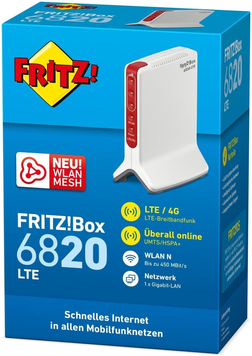 AVM FRITZ!Box 6820 LTE - WLAN N Router bis zu 450 Mbit/s, LTE-Mobilfunk für 112,97€ inkl. Versandkosten