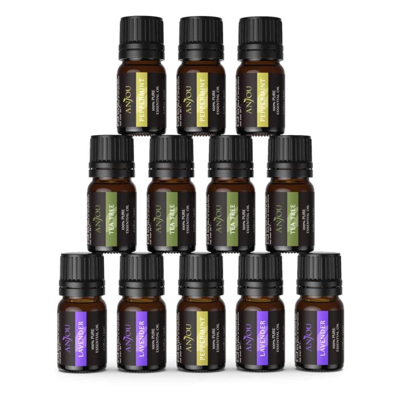 [Amazon Prime] ANJOU Ätherisches Öle Set 12 x 5 ml, 100% Pur, Lavendel, Teebaum, Pfefferminz, für Diffuser geeignet