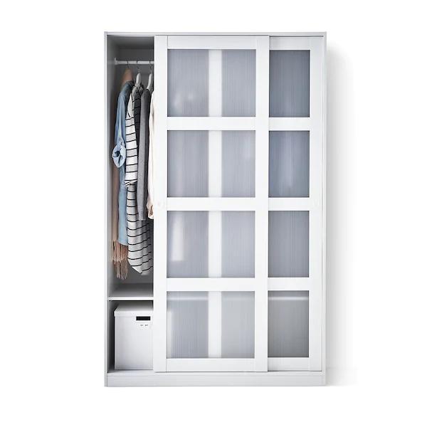 IKEA KVIKNE Kleiderschrank mit 2 Schiebetüren, weiß, 120x190 cm