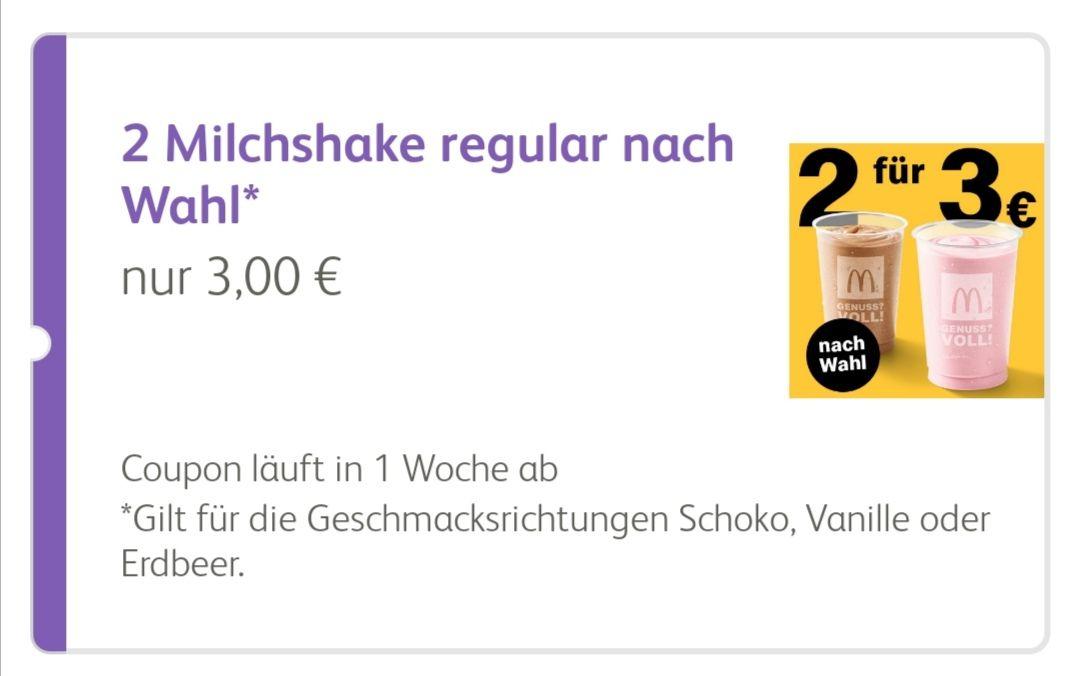 2x Milchshakes regular für 3€ in der App