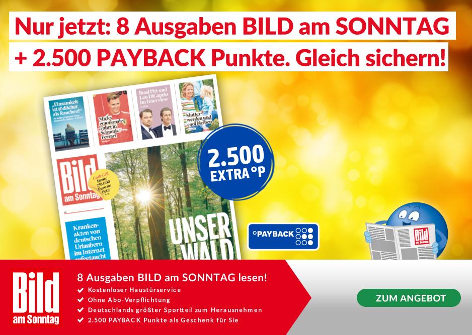 8 Ausgaben BamS + 25€ in Paybackpunkte
