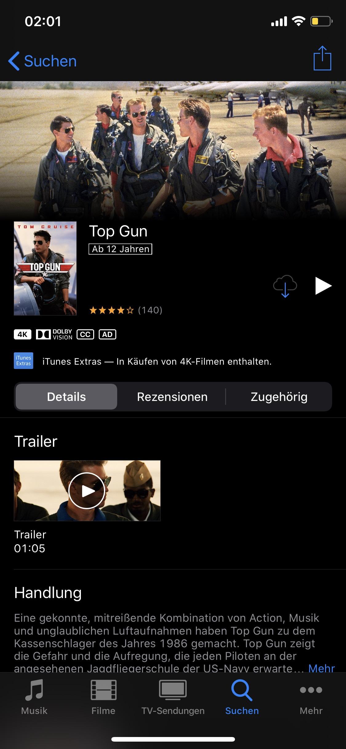 Top Gun in 4K und Dolby Vision bei iTunes