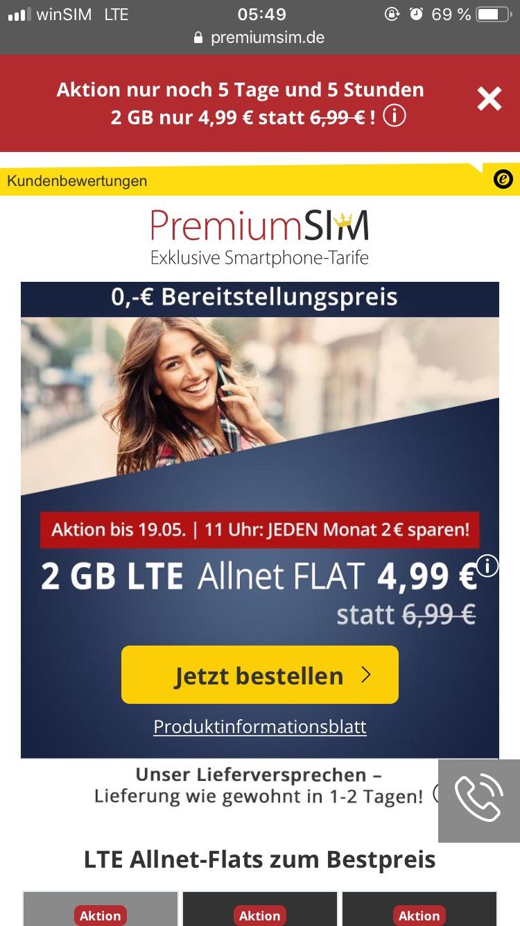 PremiumSIM Tarif mit 2GB LTE (50 Mbit/s) für mtl. 4,99€ inkl. Allnet- & SMS-Flat im Telefonica-Netz (3 Monate / 24 Monate)