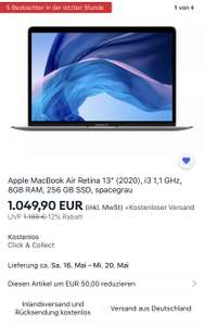 "Apple MacBook Air Retina 13"" (2020), i3 1,1 GHz, 8GB RAM, 256 GB SSD, spacegrau"