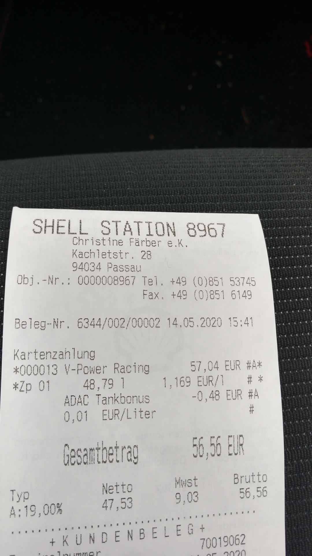 [Lokal] Shell Passau V-Power Racing 100 zum gleichen Preis wie 95 E5