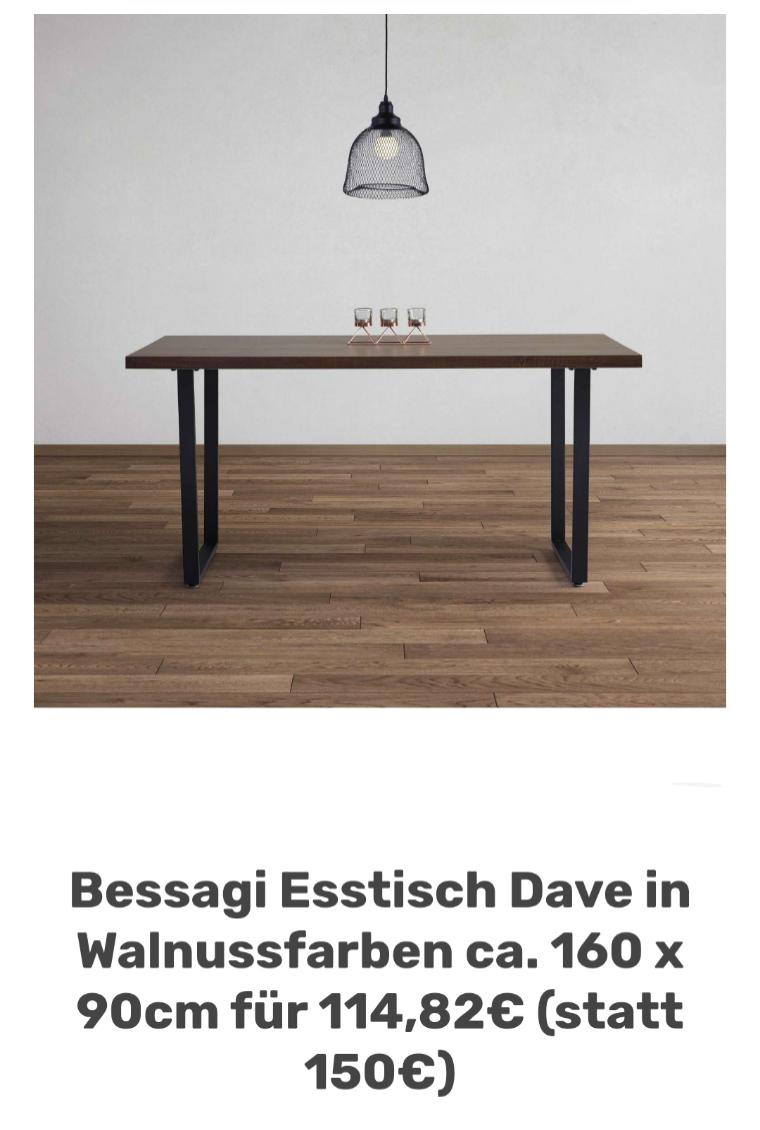 Bessagi Esstisch Dave in Walnussfarben ca. 160 x 90cm für 114,82€ (statt 150€)
