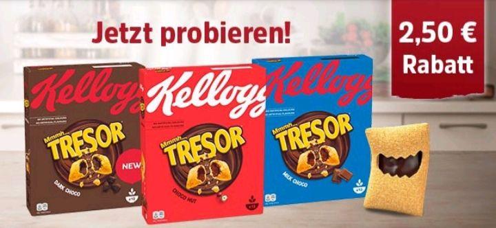 Coupies 2,50 € Rabatt beim Kauf von 2 Packungen KELLOGG'S® MMMH...TRESOR®!