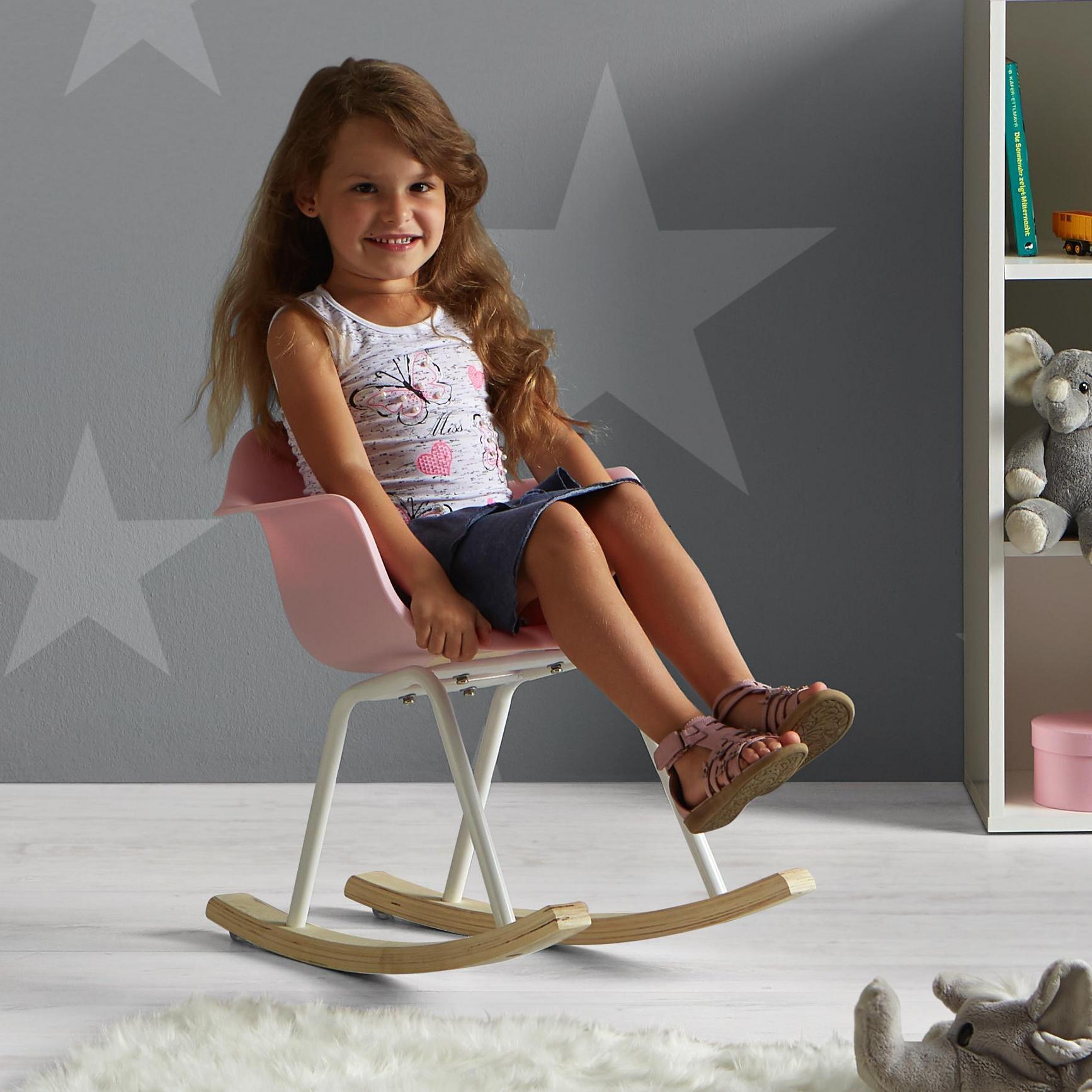 (@online Mömax) Kinderschaukelstuhl in Rosa, Weiß oder Blau - kostenlose Lieferung durch Füllartikel