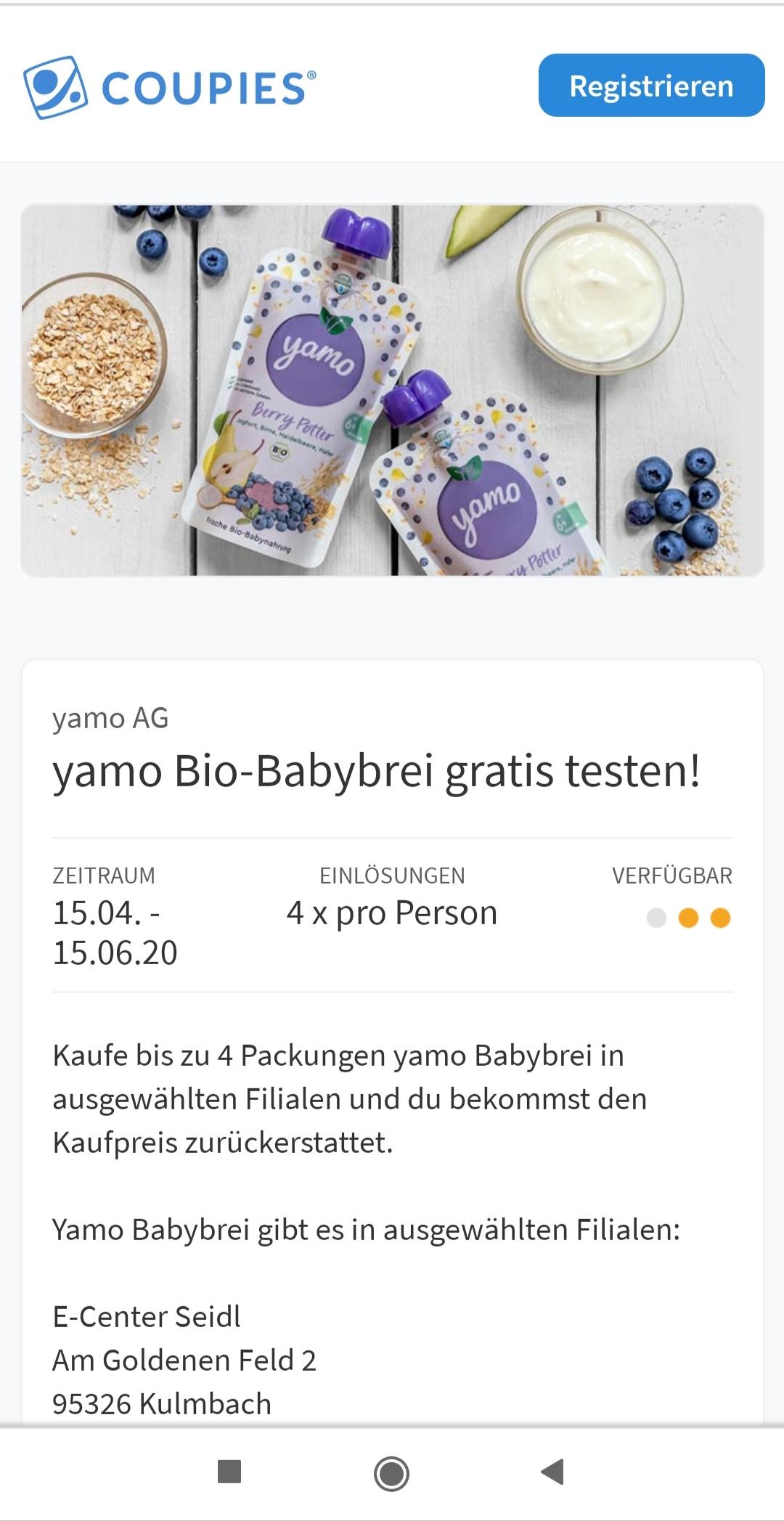 Coupies Gratis Cashback Yamo Bio Babybrei in ausgewählten Geschäften