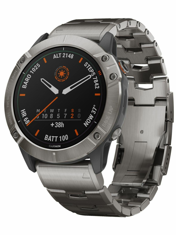 Garmin Fenix 6x pro Solar Titanium Smartwatch, GPS, 21 Tage Akkulaufzeit, Navigation
