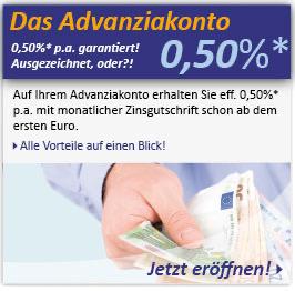[Advanzia] Tagesgeld 0,5% ab 5.000 € für 6 Monate (Neukunden)