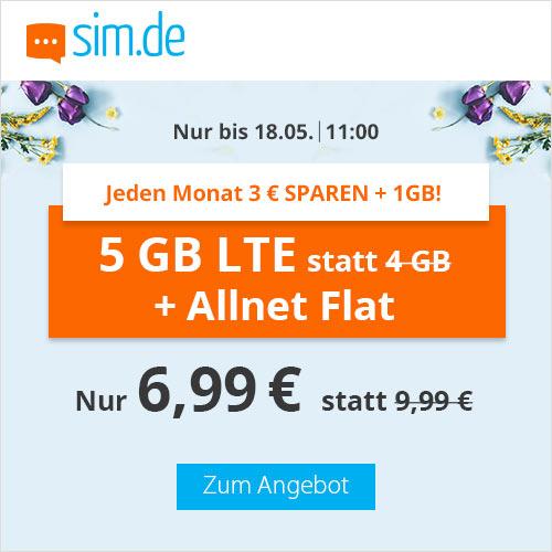 5GB LTE (50 Mbit/s) Tarif für mtl. 6,99€ von sim.de mit Allnet- & SMS-Flat (monatlich kündbar / 24 Monate; Telefonica-Netz)