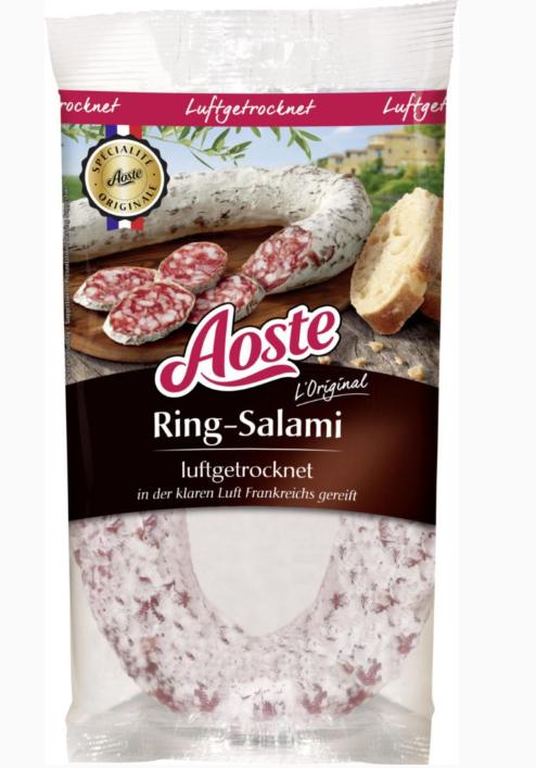 Aoste Ring-Salami, luftgetrocknet 250g verschiedene Sorten ab 28.5. bel Lidl +++ ab 25.5. bei real für 3,99€