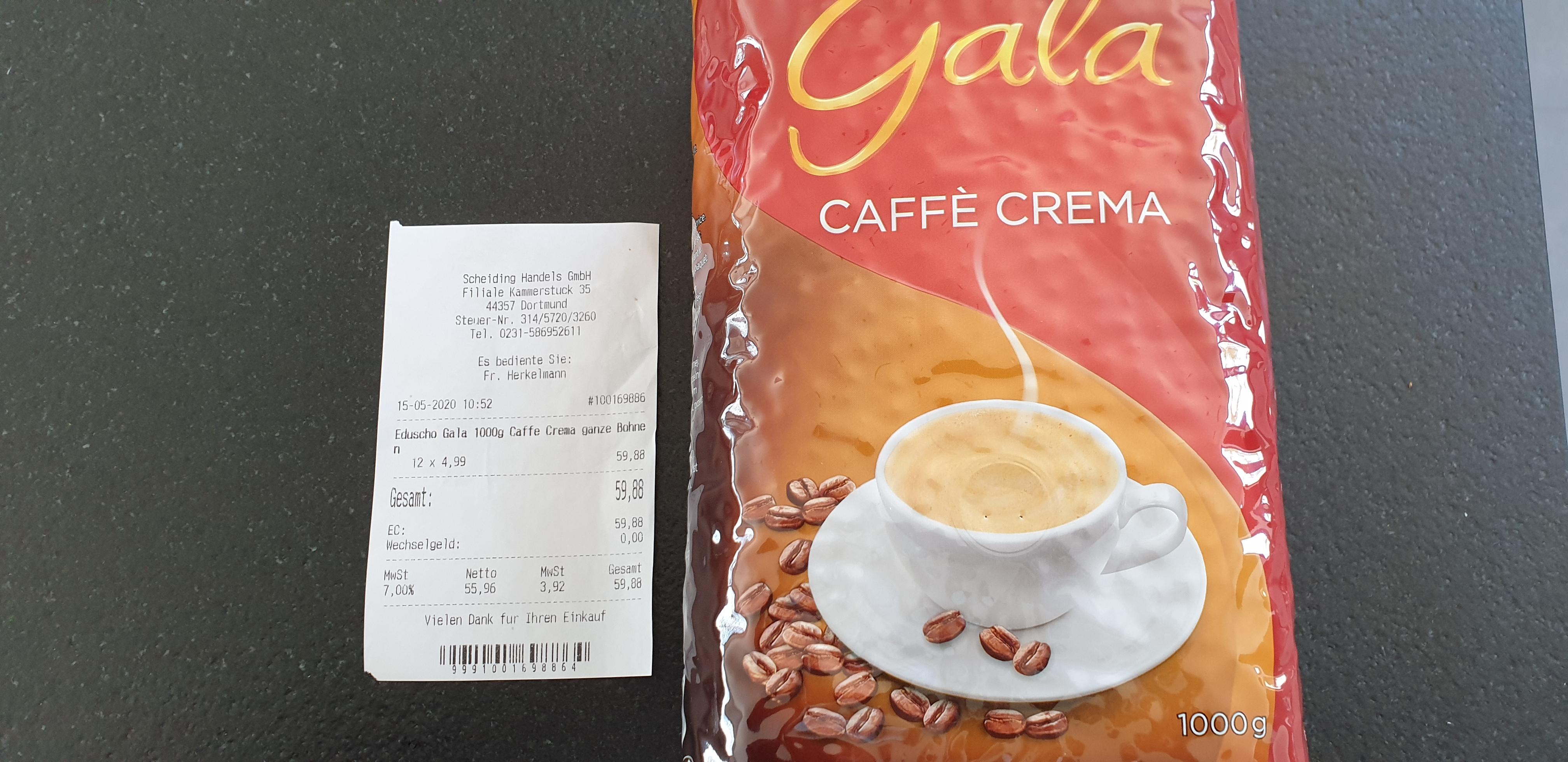 [LOKAL Dortmund] 1 KG Eduscho Gala Caffe Crema ganze Bohnen MHD 17.05.2020