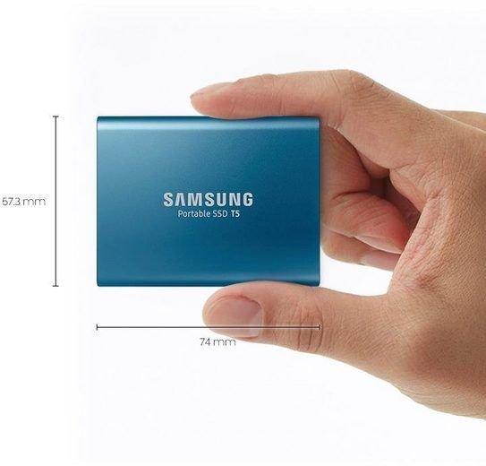 SAMSUNG Portable SSD T5 500GB 2.5 Zoll extern blau, rot o. gold für 79,35€ inkl. Versandkosten - nur heute!