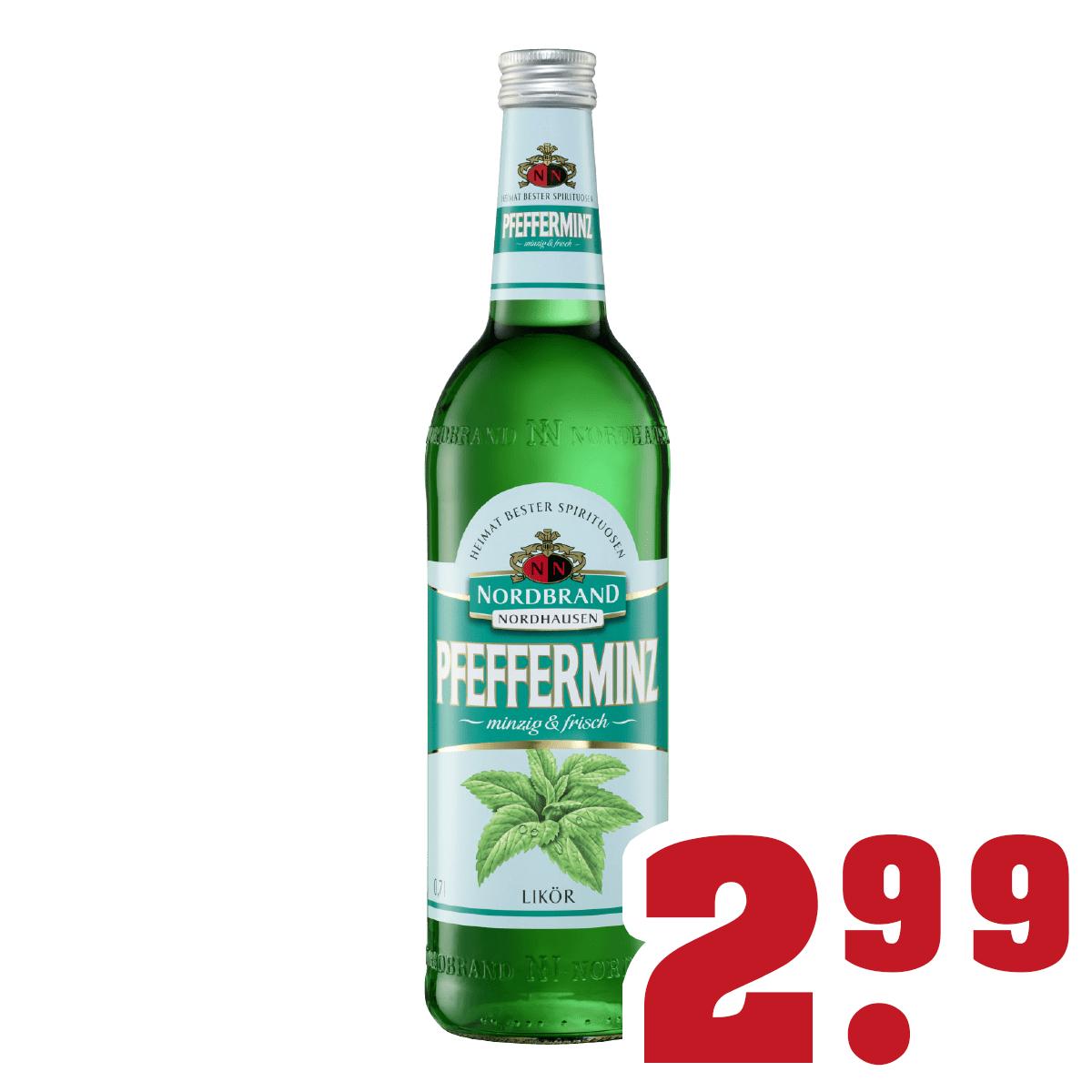 Nordbrand Nordhausen (Pfefferminz-Likör, 0,7L, 18%) bei Trink-Gut in NRW für 2,99 €