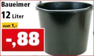 Baueimer 12 Liter für 88 Cent, Baukübel 60 Liter für 3,98 Euro, Arbeitshandschuhe für 1,98 Euro [Thomas Philipps / Filiale]