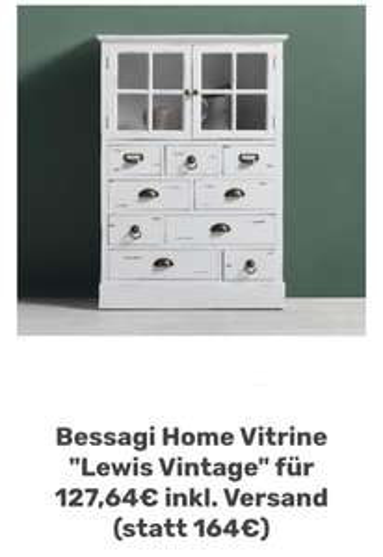 """Bessagi Home Vitrine """"Lewis Vintage"""" für 127,64€ inkl. Versand"""
