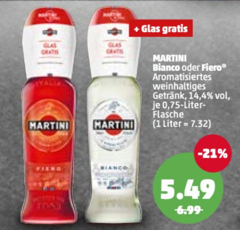 [PENNY] MARTINI Bianco oder Fiero + Gratis Glas