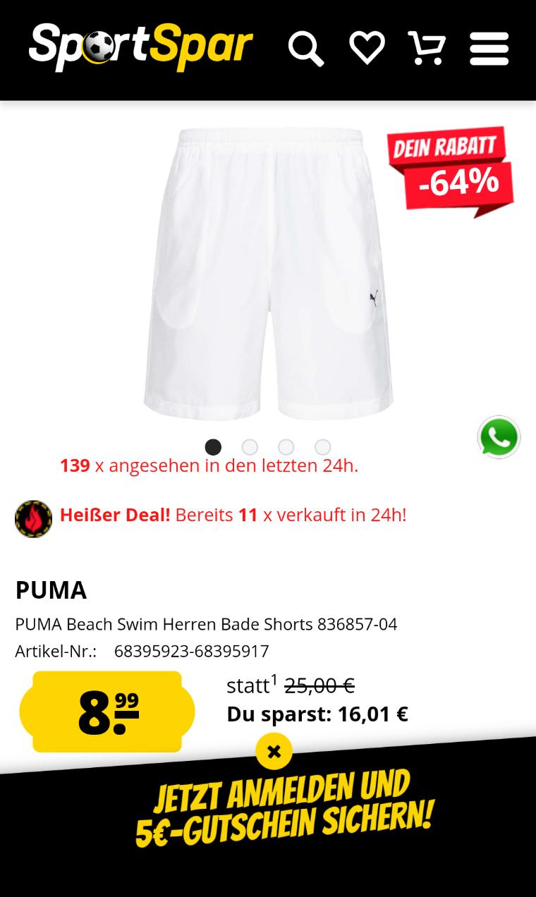 PUMA Beach Swim Herren Bade Shorts 836857-04