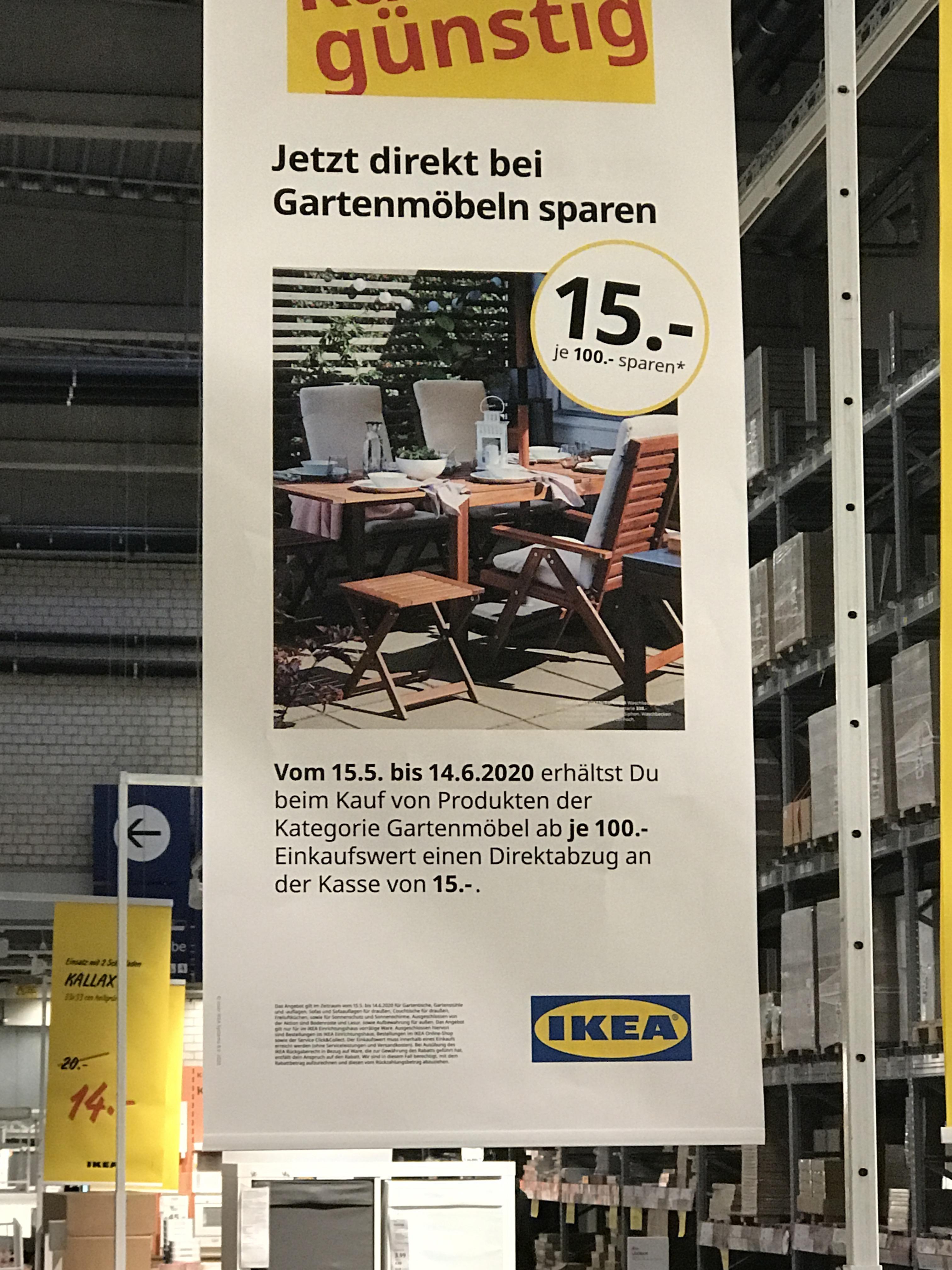Ikea (evtl. nur Dortmund) Gartenmöbel Aktion je 100€ Einkauf 15€ Rabatt