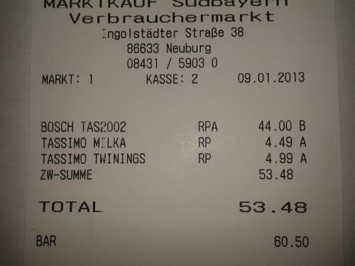 (lokal in 86633)Bosch Tassimo T20 schwarz