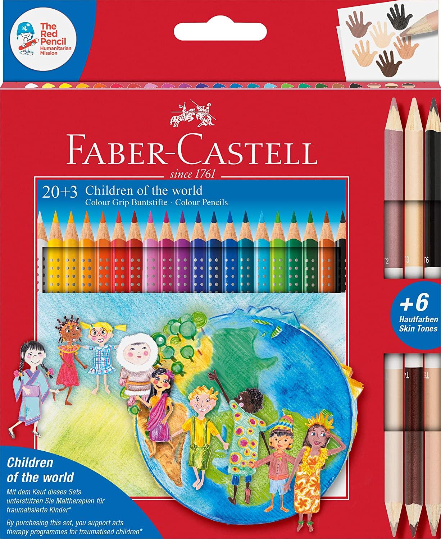 Faber-Castell - Colour Grip Buntstifte Children of the world, 20 Buntstifte + 3 Stifte mit je 2 Hautfarben Skin Tones für 11,99€ (Müller)