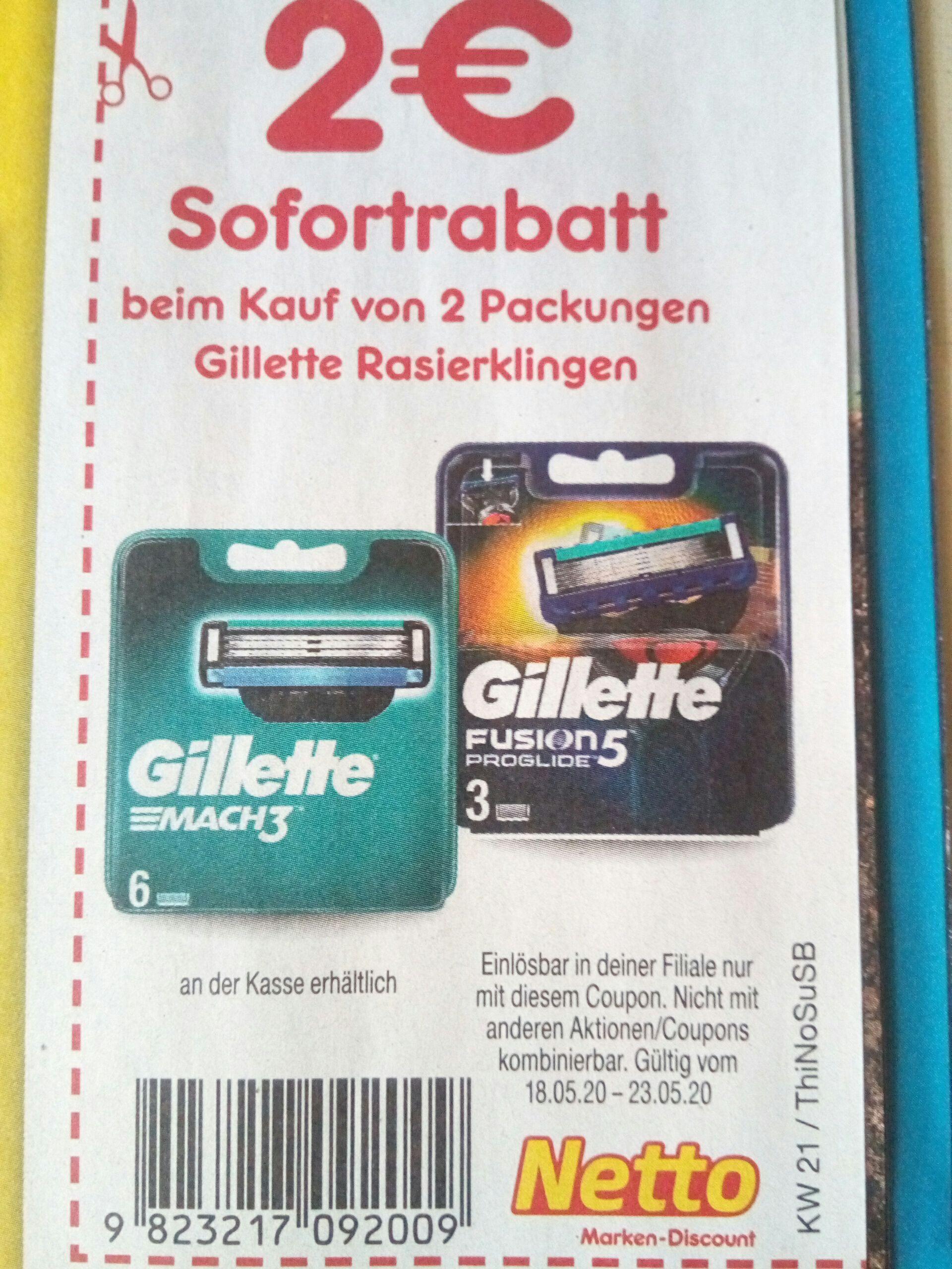 [Netto MD] 2€ Rabatt beim Kauf von 2 Packungen Gillette Rasierklingen
